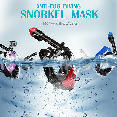 XS-XL For GoPro 180° Anti-Fog Full Face Snorkeling Snorkel Mask Diving Goggles