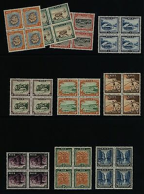 NIUE Stamps - 1950 Pictorials - SG 113-22 / SC 94-103 in Blocks - MNH