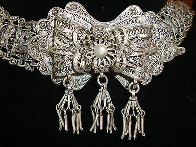 Vintage Antique Ottoman Silver Filigree Ethnic Turkish Islamic Belt