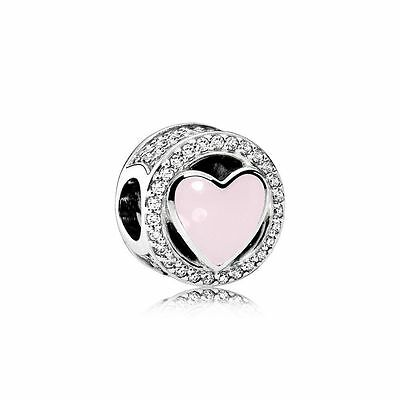 Authentic Pandora Silver Wonderful Love Soft Pink Enamel CZ Bead 792034CZ