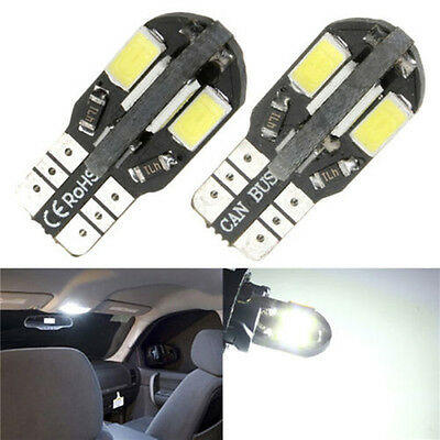 2x T10 Error Free Car Interior Side Wedge Light Canbus 5730 8SMD LED Bulbs White