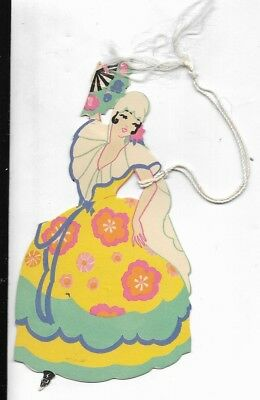 1930s art deco  bridge tally card spanish dancer  fan and gown 5 inches gibson