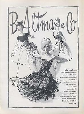1962 B. Altman & Co  ART PRINT AD features Toni Owen's fashion dresses great