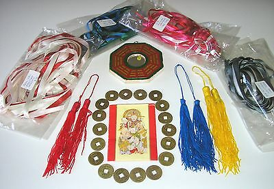 Bulk Lot - Feng Shui items- coins, mirror,coloured tassels & ribbon hangings