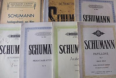 SCHUMANN LOT OF 7 PIECES OF PIANO SHEET MUSIC & BOOKS (1900's-80's) ENGLAND