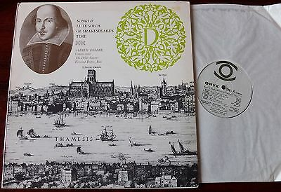 Songs & Lute Solos Of Shakespeare's Time Lp Deller Dupre Oryx 726 Mono Nm- Uk