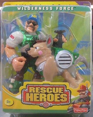 Fisher Price-Rescue Heroes, Wilderness Force, Bill Barker & Buster **mint 2000.