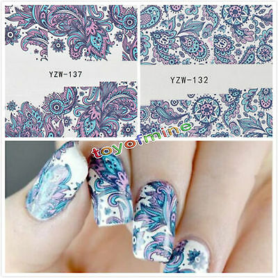 Trendy 3D Nail Art Sticker Water Transfer Stickers Flower Decals Tips Decoration