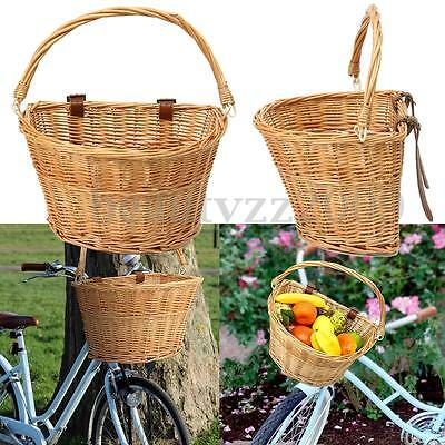 Front Willow Wicker Bicycle Bike Basket Trendy Style Brown + Straps 35x26x22cm