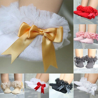 Hot Baby Kids Girls Princess Bowknot Sock Lace Ruffle Frilly Cotton Ankle Socks