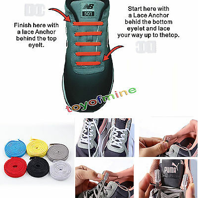 Elastic No Tie Shoelaces Sports Trainer Athletic Sneaks Shoe laces DIY for Kids