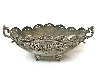Vintage antique silver plated brass bowl Engraved grapes Footed fruits bowl