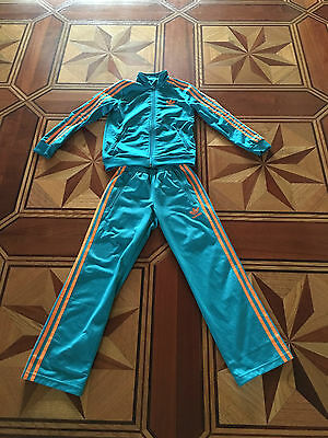 Adidas tracksuit green/orange unisex for 7-9y.o excellent used condit top&pants