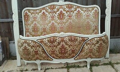 Beautiful French half corbeille uholstered 3 panel double bed collection rm30xy