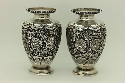 Perfect Full Silver Handmade Amazing Persian Double Vase