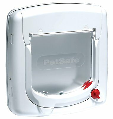 Petsafe Staywell Deluxe Manual 4-Way Locking Cat Flap White Transparent Lid Door