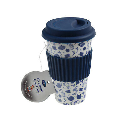 Tetley Eco Ceramic Blue Travel Coffee Drink Mug Cup With Silicon Wrap And Lid