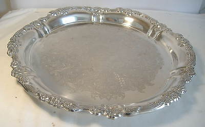 Ornate Circular Silver Plated Tray 15.1/2 Ins.