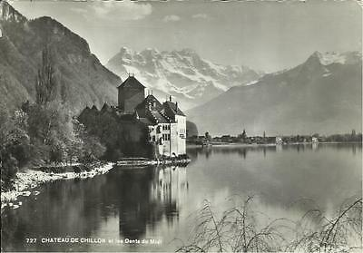 Swiss Postcard - CHATEAU DE CHILLON ET LES DENTS DU MIDI, SWITZERLAND