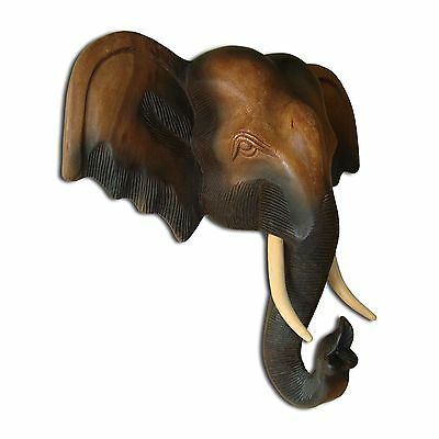Wooden elephant head, carved wall decor, imported from Thailand (13117)