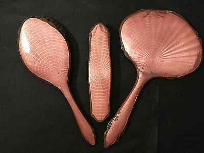 Vintage PINK GUILLOCHE ENAMEL & Copper VANITY SET Mirror, Hair & Clothes Brush