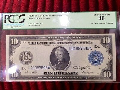 1914 $10 Large Size Federal Reserve Note FRN San Francisco