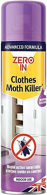 Zero In Clothes or Carpet Moth Killer Spray Treatment Repellent Control 300 ml
