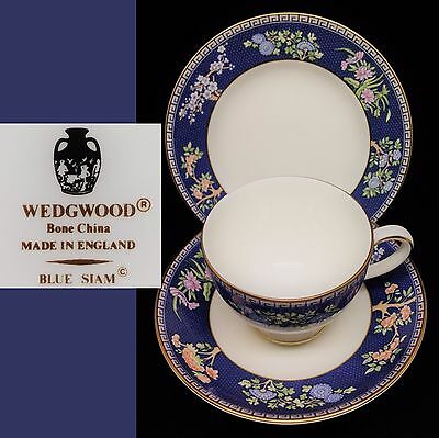 Wedgwood 1980s Blue Siam English Vintage Bone China Trio Set Cup Saucer Plate