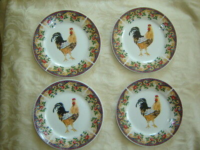 Rooster Plates Salad Dessert Plates - Set of 4 American Atelier Rooster 5229