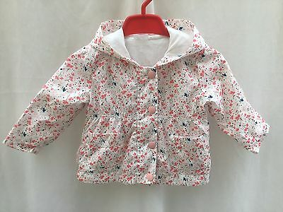 BABY GIRLS FLORAL PRINT VERY LIGHTWEIGHT COTTON LINED JACKET  - AGE 6-9 Months