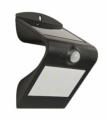 Luceco Solar Powered Wall Flood Light 3000K IP44 with PIR Motion Sensor Black