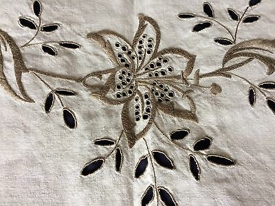 Vintage Floral Hand Embroidered Beige Irish Linen Very Large OblongTablecloth