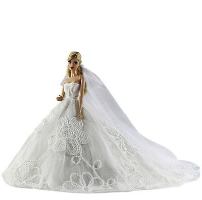 Fashion Royalty Princess Dress/Clothes/Gown+Long veil For Barbie Doll S525