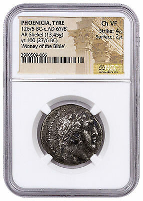 Phoenicia, Tyre Silver Shekel Money of Bible Yr.100 (27/6 BC) NGC Ch VF SKU46038