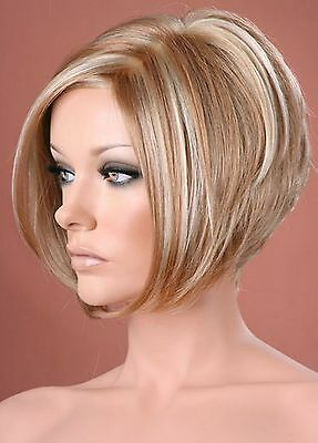 Ladies Short Bob Style Two Tone Blonde Bob Pixie Boycut Wispy Fashion Wigs