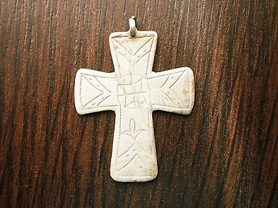 RARE Ancient Medieval Silver PENDANT CROSS 16 - 17 century AD Wearable