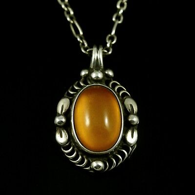 Georg Jensen Sterling Silver Pendant of the Year 1995 with Amber - Heritage