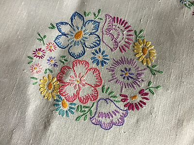 Pretty Vintage Floral Hand Embroidered Large Oblong White Irish Linen Tablecloth