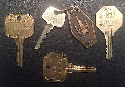 Vintage Brass Hotel Key Fob Lot New York London Los Angeles