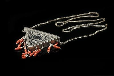 Antique Original Silver Ottoman Quran Written Coral Decorated Amazing Necklase