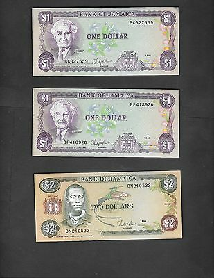 Jamaica - Lot of 3 Banknotes Circulated 1 & 2 Dollars 1986