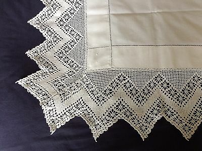 Gorgeous Edwardian Vintage White Cotton Tablecloth Hand Crocheted Deep Edging