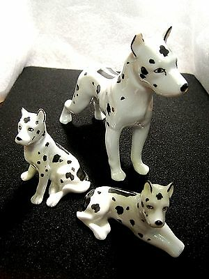VTG Harlequin Great Dane Dogs (3) Porcelain Figurine Erphila Germany 1 ear chip