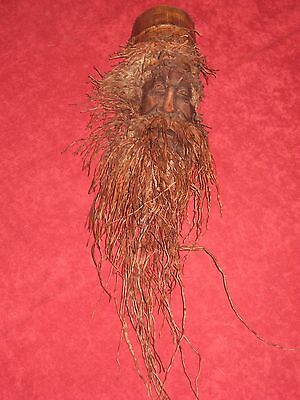 Fine Old Chinese Bamboo Root Carved Face Head with Beard Wall Plaque 14""