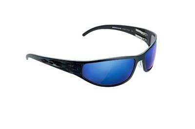 NEW ICICLES Bagger Flames Blue Mirror Lens Sunglasses with Matte Black Frame