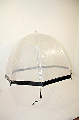 Vtg 60s/70s Clear Vinyl Umbrella Dome Bubble Black Handle See Thru Japan, NICE!