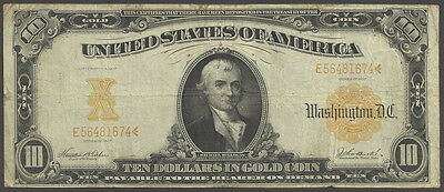 $10 Series 1907 Gold Certificate, Horseblanket, Fine, Sound Circulated Example