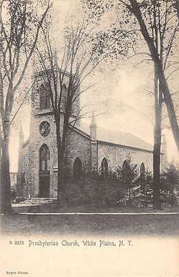 White Plains New York Presbyterian Church Street View Antique Postcard K61973