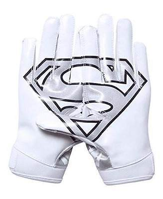 Under Armour Boy's F5 Alter Ego Superman Football Gloves New White/Silver Large