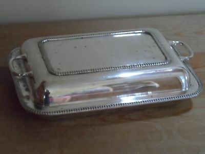 silver plated entrée/serving dish with lid, vintage